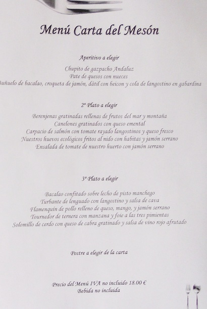 Sunday menu del dia